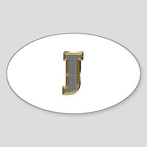 J Gold Diamond Bling Oval Sticker