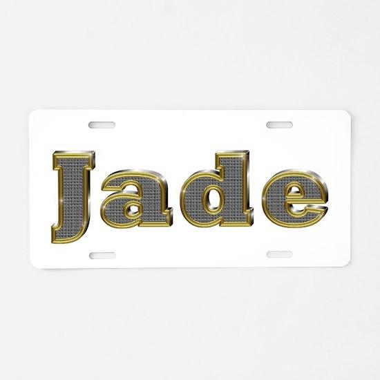 Jade Gold Diamond Bling Aluminum License Plate