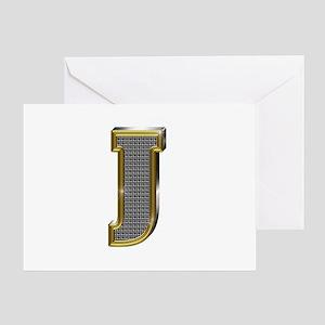 J Gold Diamond Bling Greeting Card