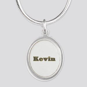 Kevin Gold Diamond Bling Silver Oval Necklace