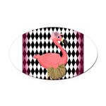Pink Flamingo Lady Diamonds Oval Car Magnet