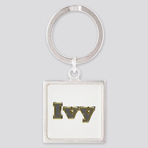 Ivy Gold Diamond Bling Square Keychain