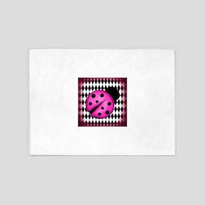Pink Ladybug on Diamonds 5'x7'Area Rug