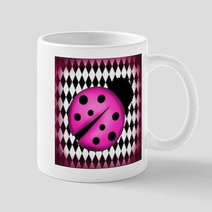 Pink Ladybug on Diamonds Mugs