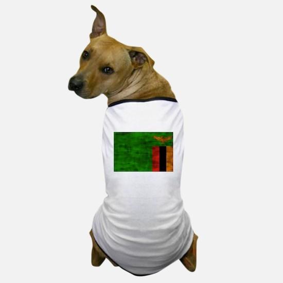 Distressed Zambia Flag Dog T-Shirt