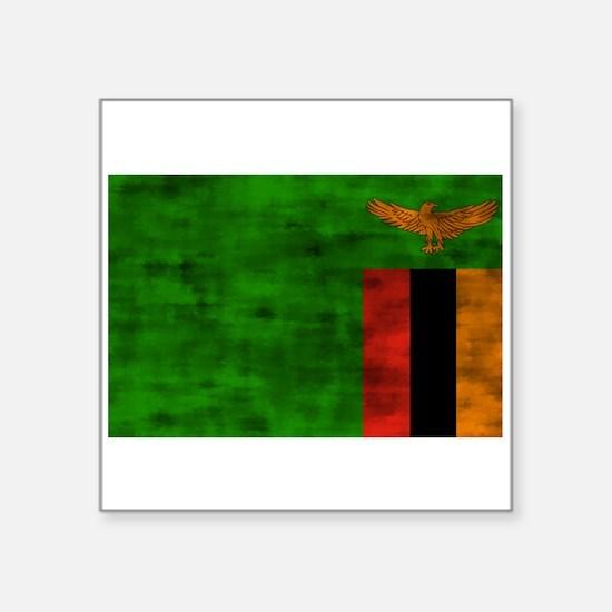 Distressed Zambia Flag Sticker