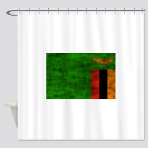 Distressed Zambia Flag Shower Curtain