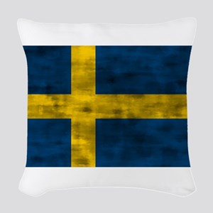 Distressed Sweden Flag Woven Throw Pillow