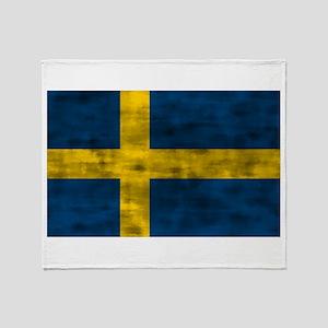 Distressed Sweden Flag Throw Blanket