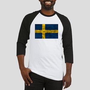 Distressed Sweden Flag Baseball Jersey