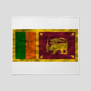 Distressed Sri Lanka Flag Throw Blanket