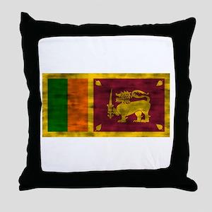 Distressed Sri Lanka Flag Throw Pillow