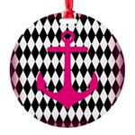 Pink Black Anchor Ornament