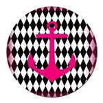 Pink Black Anchor Round Car Magnet