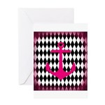 Pink Black Anchor Greeting Cards