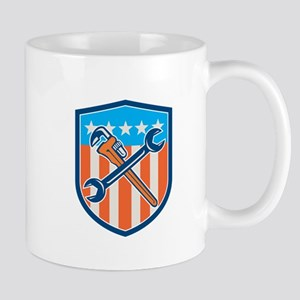 Spanner Monkey Wrench Crossed USA Flag Shield Mugs