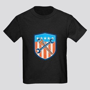 Spanner Monkey Wrench Crossed USA Flag Shield T-Sh