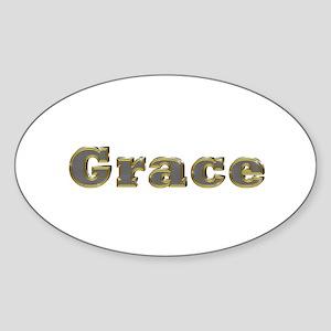 Grace Gold Diamond Bling Oval Sticker