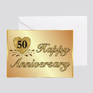 50th wedding anniversary wording greeting cards cafepress 50th golden anniversary greeting card m4hsunfo