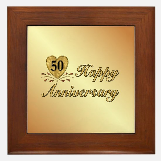 50th Anniversary Golden Heart Framed Tile