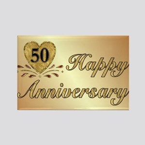 50th Anniversary Golden Heart Rectangle Magnet