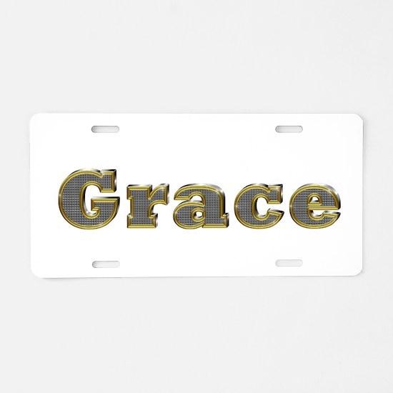 Grace Gold Diamond Bling Aluminum License Plate