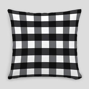 Gingham Checks black white Everyday Pillow