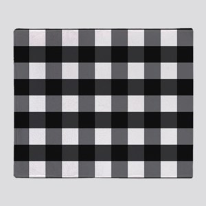 Gingham Checks black white Throw Blanket