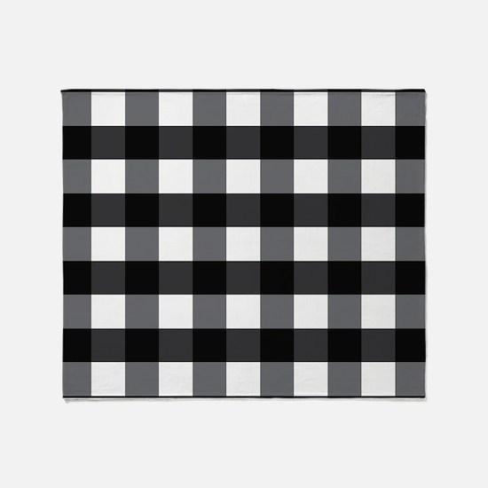 Gingham Checks black white Throw Blanket