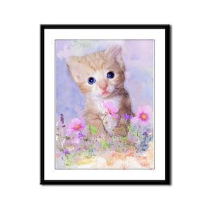 Blue eyed kitten in flowers field Framed Panel Pri