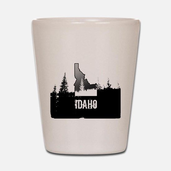 Idaho: Black and White Shot Glass