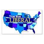 True Blue USA LIBERAL (blue mosaic) Sticker(Rect.)