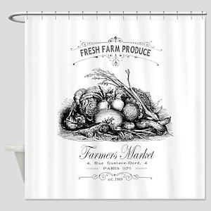 Modern vintage French vegetables Shower Curtain
