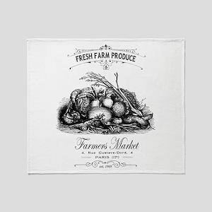Modern vintage French vegetables Throw Blanket
