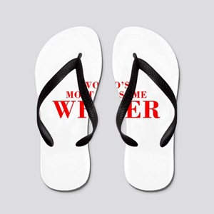 WORLDS MOST AWESOME Writer-Bod red 300 Flip Flops