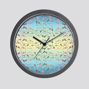 Guitars Pattern Wall Clock