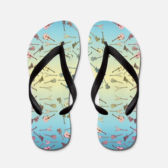Guitars Pattern Flip Flops
