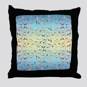 Guitars Pattern Throw Pillow