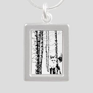 Fox in Birch Forest Modern Art Necklaces