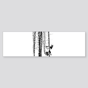 Fox in Birch Forest Modern Art Bumper Sticker
