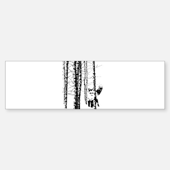 Fox in Birch Forest Modern Art Bumper Car Car Sticker