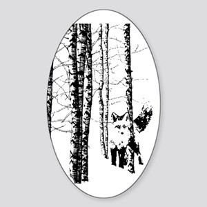 Fox In Birch Forest Modern Art Sticker