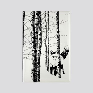 Fox In Birch Forest Modern Art Magnets