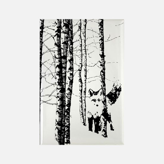 Fox In Birch Forest Modern Art Magnets