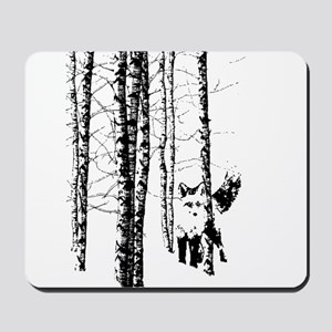 Fox in Birch Forest Modern Art Mousepad