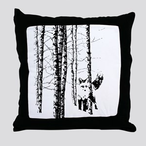 Fox in Birch Forest Modern Art Throw Pillow