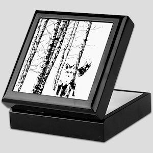 Fox in Birch Forest Modern Art Keepsake Box