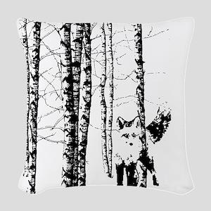 Fox in Birch Forest Modern Art Woven Throw Pillow