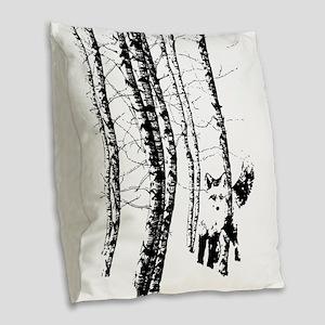 Fox in Birch Forest Modern Art Burlap Throw Pillow