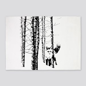 Fox in Birch Forest Modern Art 5'x7'Area Rug